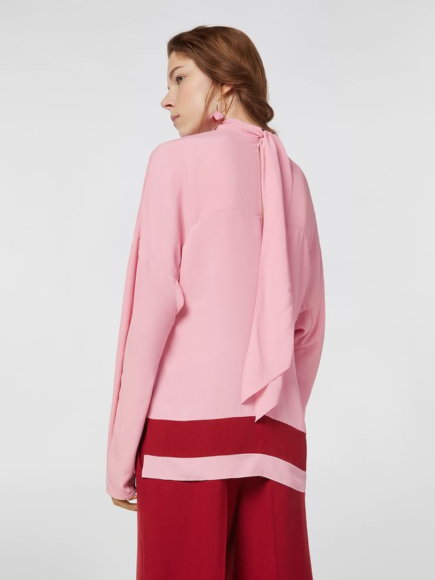 Marni Blouse in washed crepe with contrast band Woman - 3