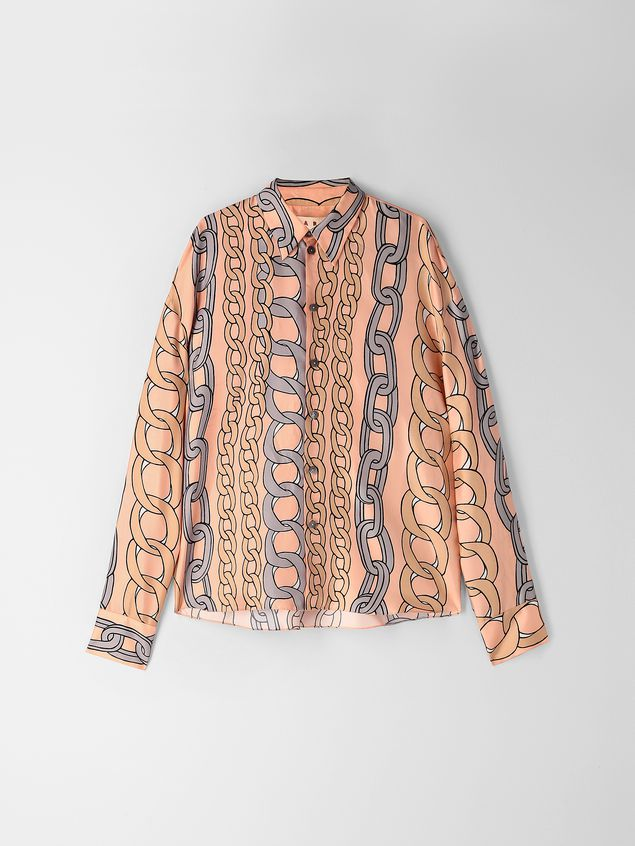 Marni Shirt in silk twill with Chaine print Woman - 2