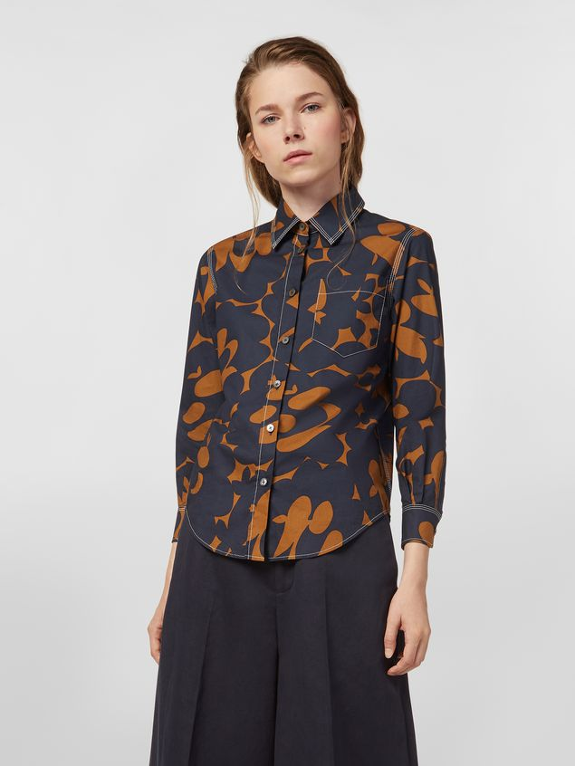 Marni Poplin shirt with Belou print and chest pocket Woman - 1