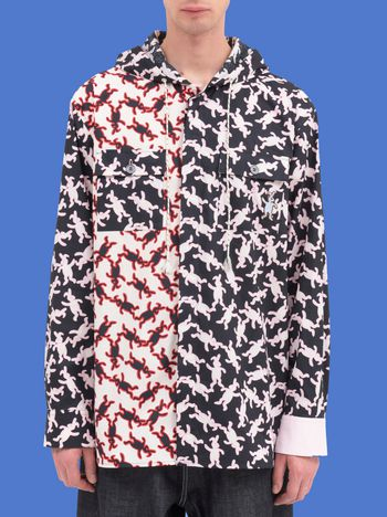Marni Hooded shirt in poplin Dance Bunny print Man