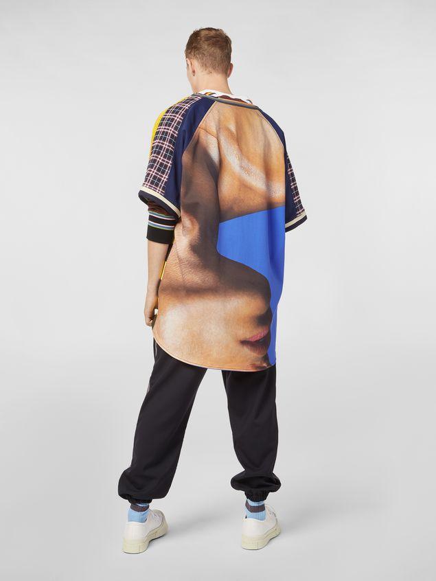 Marni Camicia patchwork in cotone tecnico con stampa artista Betsy Podlach Uomo
