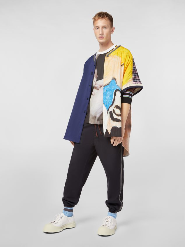 Marni Camicia patchwork in cotone tecnico con stampa artista Betsy Podlach Uomo - 1