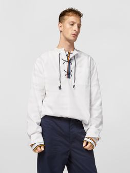 Marni Shirt in cotton poplin with lacing closure Man