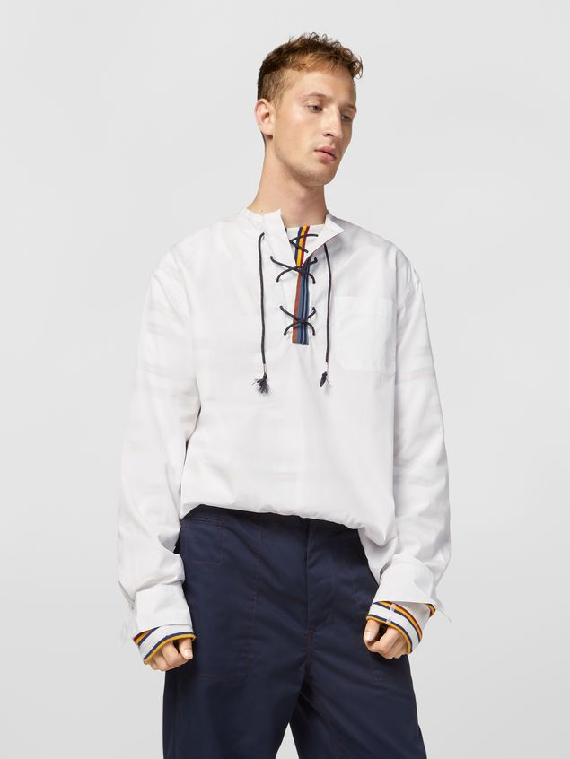 Marni Shirt in cotton poplin with lacing closure Man - 1