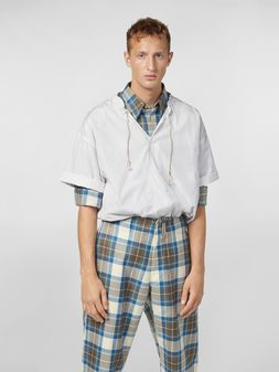 Marni Shirt in striped cotton poplin with drawstring Man