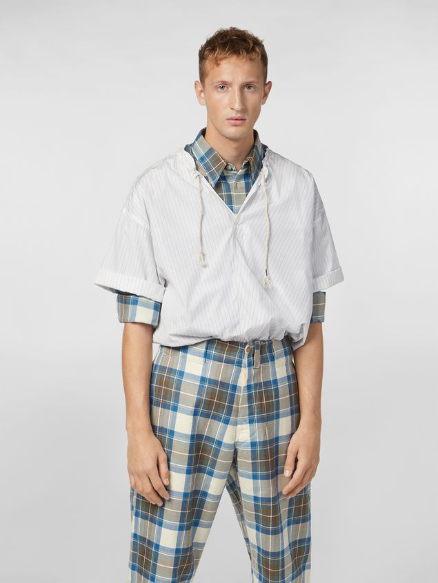Marni Shirt in striped cotton poplin with drawstring Man - 1
