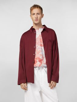 Marni Shirt in lightweight cotton poplin with unfinished borders Man