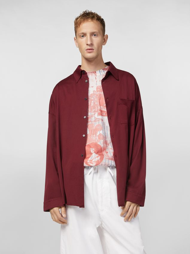 Marni Shirt in lightweight cotton poplin with unfinished borders Man - 1
