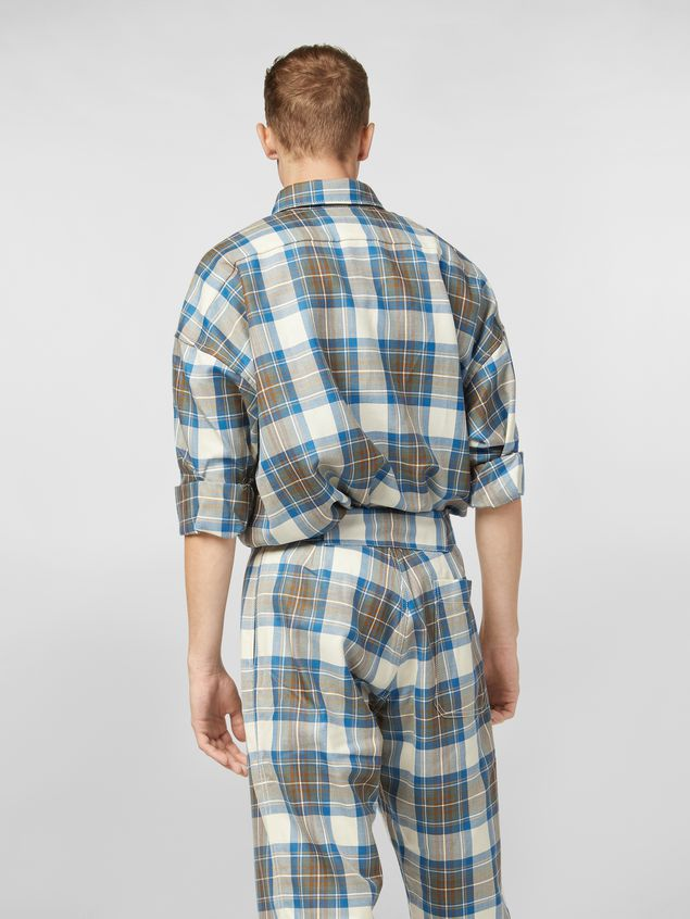 Marni Shirt in yarn-dyed wool tartan with unfinished border Man
