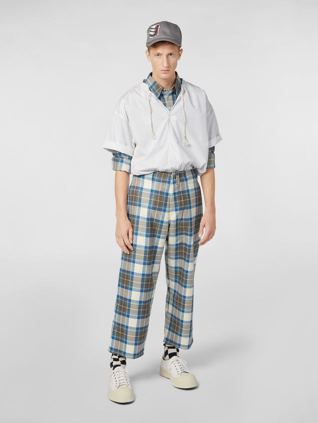 Marni Shirt in yarn-dyed wool tartan with unfinished border Man - 5
