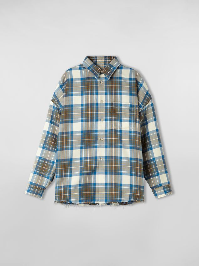 Marni Shirt in yarn-dyed wool tartan with unfinished border Man - 2