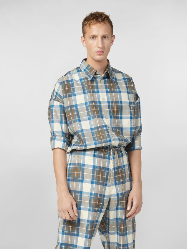Marni Shirt in yarn-dyed wool tartan with unfinished border Man - 1