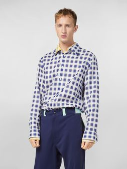 Marni Shirt in yarn-dyed double plaid cotton voile Man