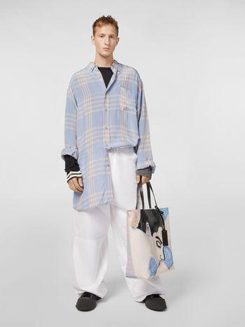 Marni Extra-long shirt in macro plaid viscose Man