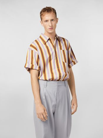 Marni Shirt in degrading striped poplin with chest pocket Man