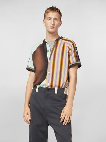 Marni テクノコットン パッチワークシャツ Florian Hetzプリント メンズ