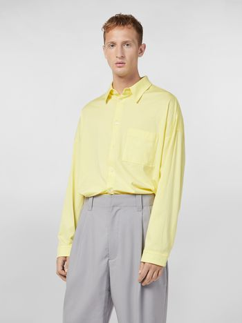 Marni Shirt in lightweight cotton poplin with unfinished yellow borders Man
