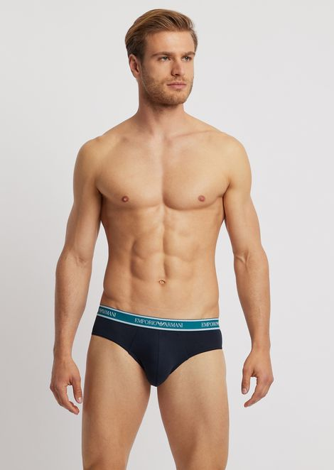 4d6f668cab5284 Pack of 3 stretch cotton briefs with elasticated logo waistband