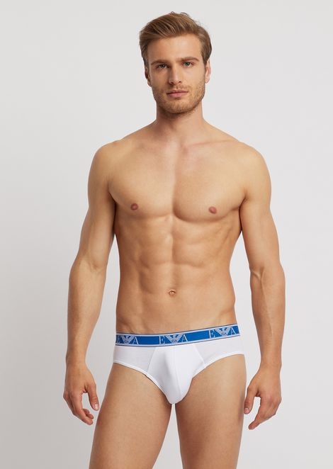Pack of three stretch cotton briefs with logo elastic
