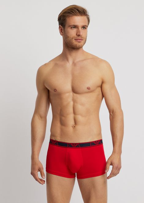 Pack of three stretch cotton boxers with logo elastic