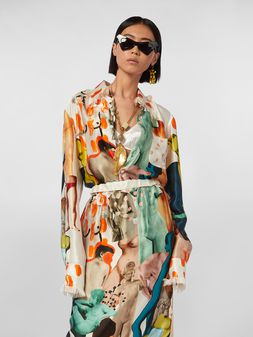 Marni Chest-pocket shirt in rayon satin with Afrodite print Woman