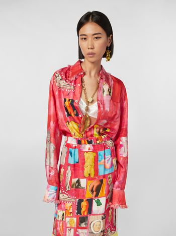 Marni Chest-pocket shirt in silk twill with Opi print Woman
