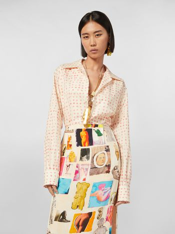 Marni Shirt in cotton poplin Cerere print with lapels collar Woman