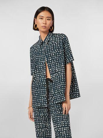 Marni Short-sleeved shirt in cotton poplin Cerere print Woman