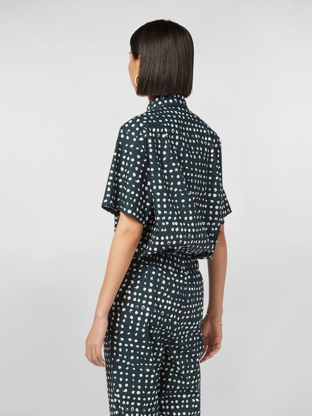 Marni Short-sleeved shirt in cotton poplin Cerere print Woman