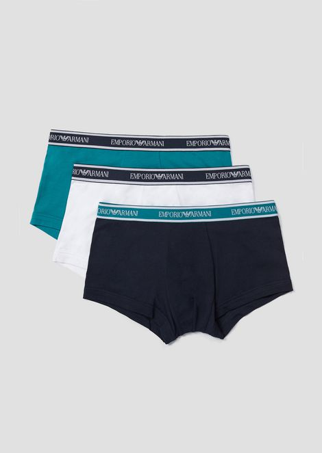 Pack of three stretch cotton boxer briefs with logo elastic