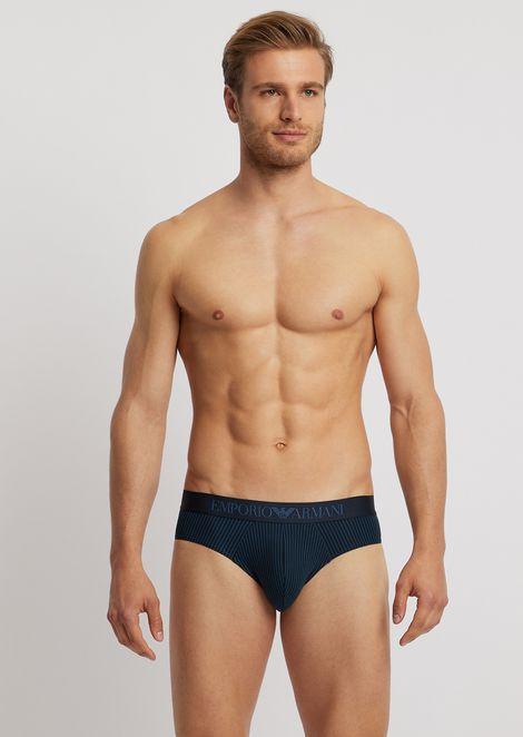 Pack of two stretch cotton briefs with branded elastic waistband