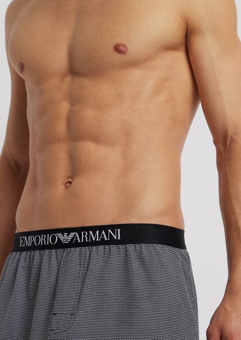 Striped cotton boxers with elasticated logo waistband