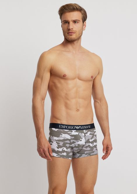Stretch cotton boxers with camouflage pattern and all-over logo