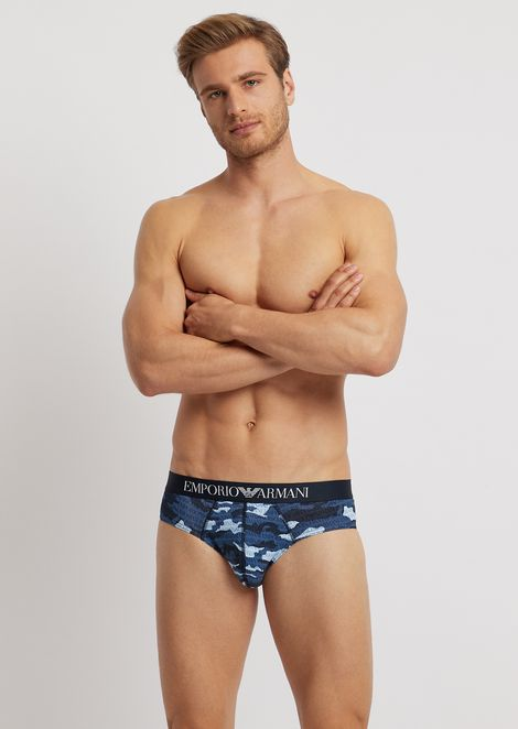 Stretch cotton briefs with camouflage pattern with all-over logo