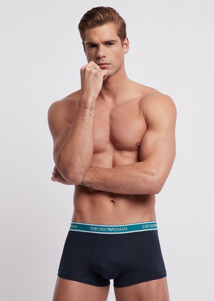 82c76c3f5d6c Pack of three stretch cotton boxer briefs with logo elastic | Man | Emporio  Armani