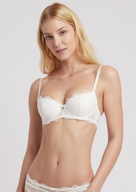 Balconette bra with floral lace