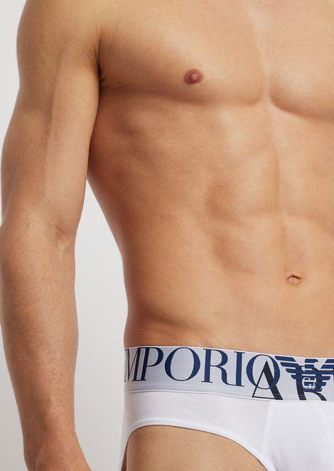 Stretch cotton briefs with elasticated logo maxi waistband