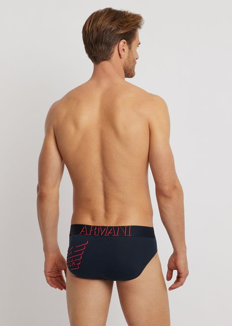 Stretch cotton briefs with logo on the elastic and three-dimensional print