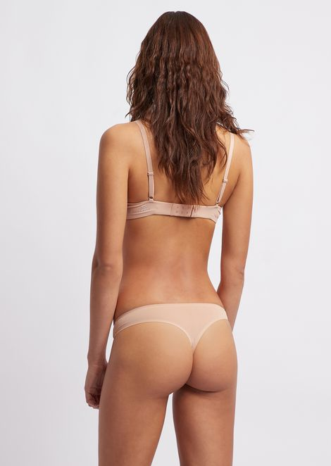 Stretch microfiber thong with logo print