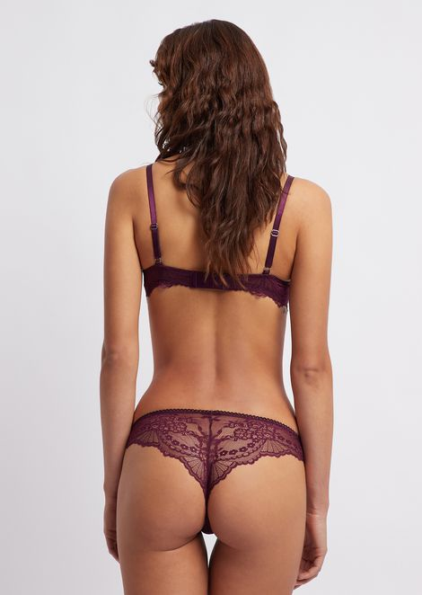 Floral lace Brazilian briefs with a small charm