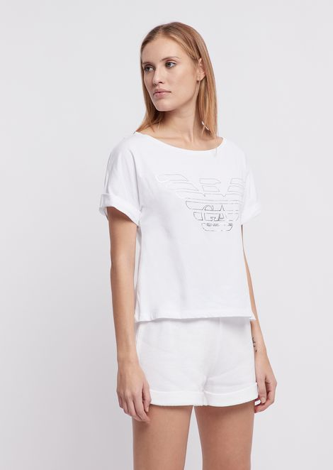 Camiseta ancha de punto de algodón con logotipo estampado