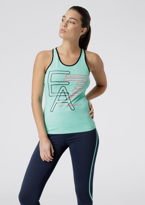 Stretch jersey top with maxi-logo