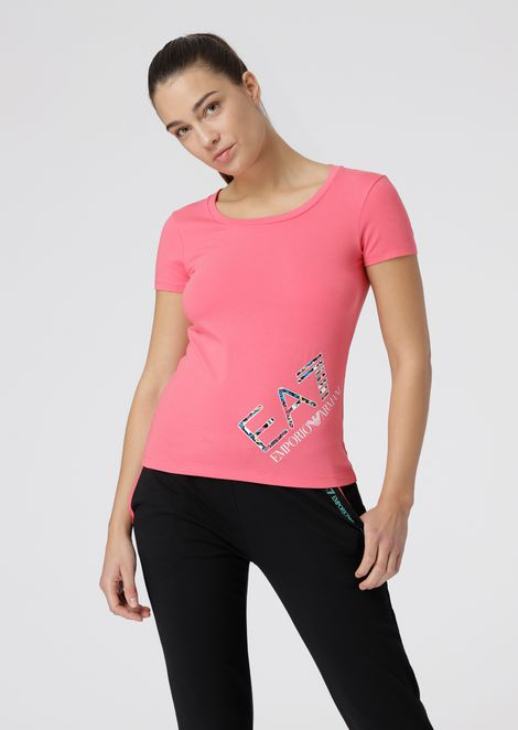 Stretch jersey T-shirt with logo print