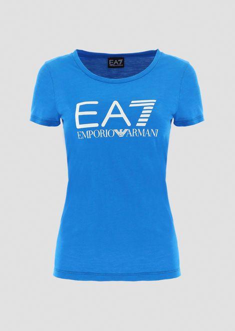 T-shirt in jersey fiammato con maxi-stampa logo