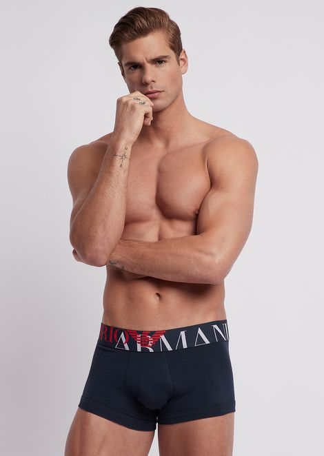 Stretch cotton boxers with maxi-logo elastic waistband