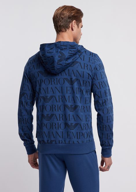 Loungewear sweatshirt with all-over branded hood and fabric