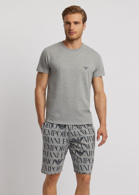 Regular-fit loungewear T-shirt with all-over logo on the back