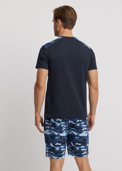 Pyjamas with T-shirt and shorts in camouflage jersey