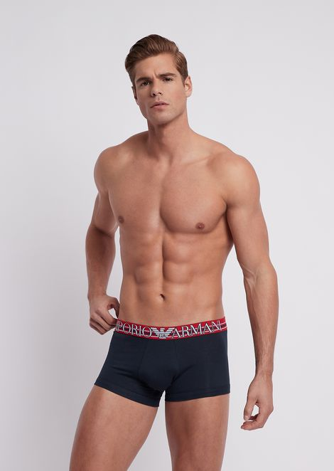 Stretch cotton boxer trunks with branded Color Play elastic