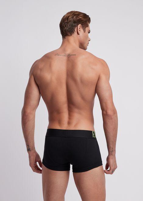 Stretch cotton boxers with maxi-logo elastic waistband